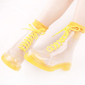 China Factory Customize Design PVC Fashion Transparent Martin Rain Boots