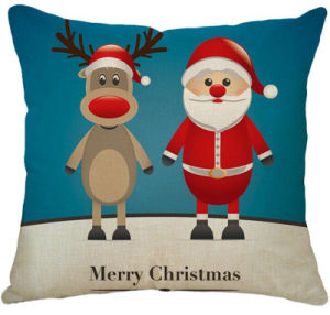 Imitated Silk Fabric Merry Christmas Carton Cushion Colorful Design Cushion pictures & photos
