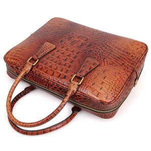 2017 Brown Crocodile Grain Leather Laptop Bag Briefcase pictures & photos