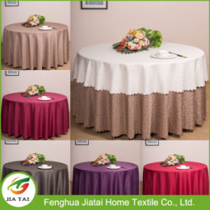 Cheap Polyester Round Embroidered Flower Design Table Cloth pictures & photos