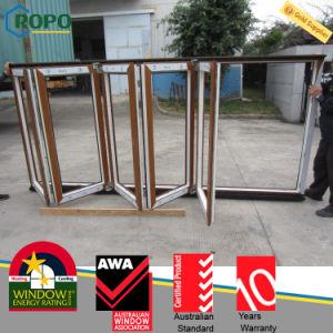 Wood Like Rehau/Veka PVC Profile Bifold/Folding Sliding Window pictures & photos