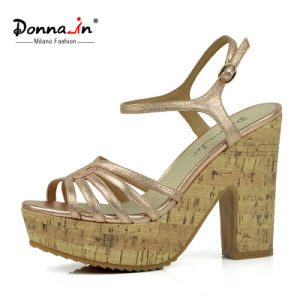 Lady Leather High Heels Cork Women Casual Sandals (DDP CIF) pictures & photos