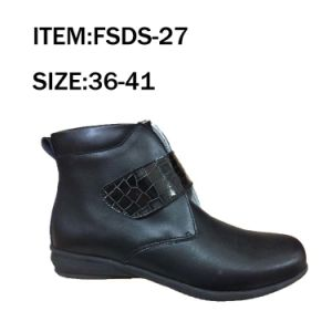 High Cut Leather Round Top Women Fashion Shoes pictures & photos