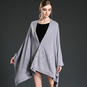 Wool Shawls with Buttons Grey