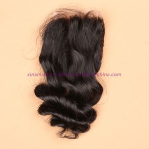 """8A Virgin Peruvian Loose Wave Silk Base Closure Natural Black Bleached Knots Middle/Free/3 Way Part 4X4"""" Silk Top Closure pictures & photos"""