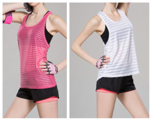 Lady Sports Vest Quick-Drying Breathable Fitness Wear Sexy Tops pictures & photos