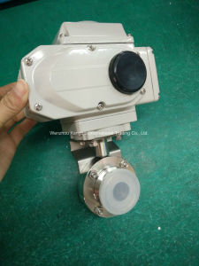 220V AC Electric Actuator Sanitary Butterfly Valve pictures & photos