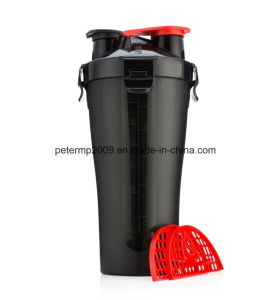 700ml 25oz BPA-Free Wholesale Shaker Bottle, Protein Shaker with Two Containers pictures & photos