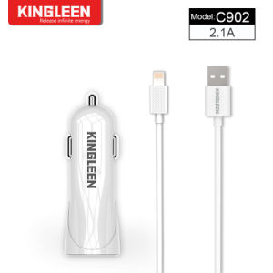 Kingleen Model C902 Dual USB Smart Battery Car Charger for Phone 5V2.1A Combo Produced by The Original Factory pictures & photos