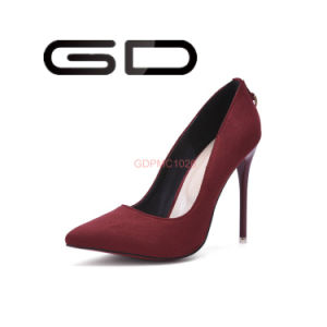 Ruby Red Upper Fabric Material Thin High Heel Pumps Shoes pictures & photos