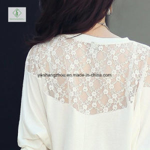Newest Bat Sleeve Lace Stitching Sleeve Knitted Lady T-Shirt Dress pictures & photos