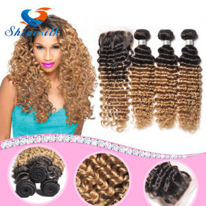 8A Ombre Deep Wave Brazilian Human Hair Extensions 3PCS/Lot Deep Curly Cheap Hair Weaves 1b 27 30 Blonde Deep Wave Hair Bundles pictures & photos