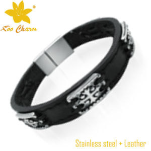 Stlb-020 Unisex Leather Mens Black Bead Bracelet pictures & photos