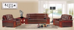Italy Design Classic Wooden Office Furniture Leather Office Sofa (NS-E192) pictures & photos