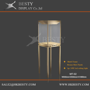 Luxury Besty Metal Tower Showcase with Rotate LED pictures & photos