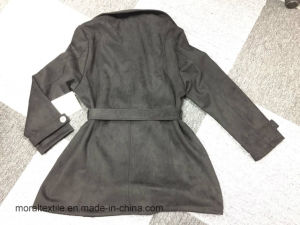 Black Newstyle Double-Breasted Turndown-Collar Long-Sleeve Pockets Ladies Coat pictures & photos