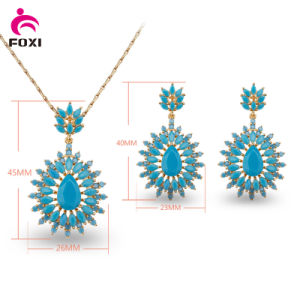 Coforful Cubic Zircon Pendant Earring Environmental Copper Jewelry Set pictures & photos
