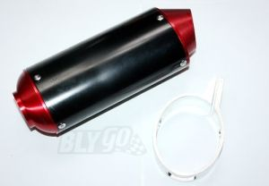 Red CNC Alloy Exhaust Muffler + Clamp 125cc 150cc 160cc Pit PRO Trail Dirt Bike
