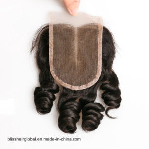 Peruvian Virgin Hair 3.5X4 Lace Closure Middle Part Swiss Movado Curl pictures & photos
