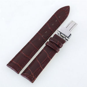 Handmade Band Big Genuine Cowhide Leather Watch Strap / Leather Strap Leather Watch Band with Butterfly Buckle