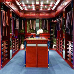 Mirrored Wood Closet Wardrobe with Louvered Door (GSP17-019) pictures & photos
