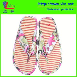Batten / Wood Insole Mixed EVA Foam Slipper with Fabric Strap pictures & photos