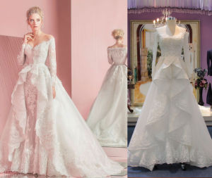 off Shoulder Pleat Train Wedding Dress pictures & photos