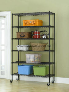 6 Tiers Black Epoxy Coated Adjutable Steel NSF Wire Shelving for Sundries & Garage Storage pictures & photos