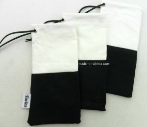 Custom Black and White Blank Drawstring Eyeglasses Spectacles Pouch pictures & photos