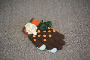 Cute PVC Dots Magic Gloves with Pompom pictures & photos