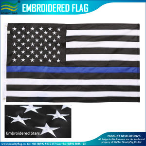 90X150cm Embroidered Thin Blue Line Police Flags (B-NF16F05004) pictures & photos