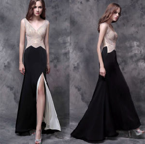 Beadling Slim Fitting Chiffon Split Cocktail Evening Prom Party Dress pictures & photos