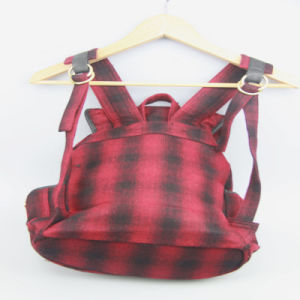 Ladies Fashion Backpack, Fashion Checked Pattern Fabric Women Backpack pictures & photos