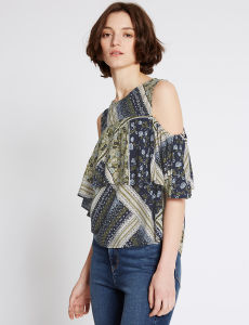 Patchwork Round Neck Sleeveless Shell Top pictures & photos