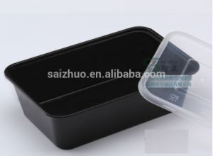 Black Single Compartment Disposable Plastic Food Container Lunch Box (SZ-L-650) pictures & photos