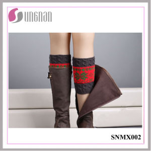 2015 Latest Winter Snowflake Contrast Color Leg Warmers Knitted Socks pictures & photos