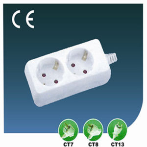 Two Ways Outlet 13A, 250V Euopean Socket with Cord