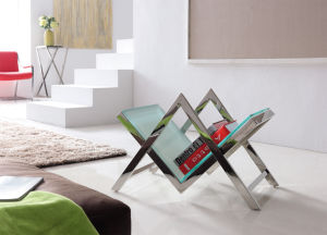 Glass Stainless Steel Book Shelf for Home Furniture pictures & photos