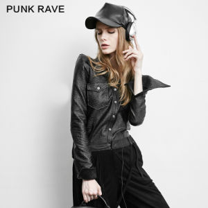 Py-158 Punk Plus Size Skinny Shrink Leather Fashion Jacket Ladies Blouses pictures & photos