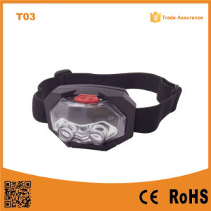 T03 1red LED + 2 LED Plastic Headlight Waterproof Outdoor Camping Head Torch 3*AAA Battery LED Headlamp pictures & photos