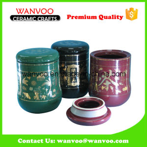 Novelty 3 Piece Ceramic Canister Kitchen Storage Tea Jars with Ceramic Lid pictures & photos