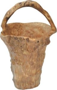 Natural Color #2500 Handly Carved Wooden Root Tall Small Basket