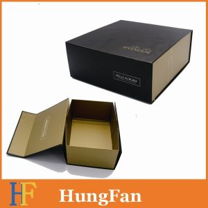 Large Size Folding Black Cardboard Boxes Flat Pack with Logo White pictures & photos