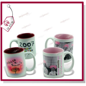 15oz Plain White Sublimation Inner Color Mug with Photo Printing pictures & photos