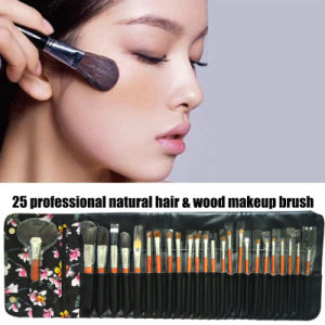 Fashion Pattern 25 PCS Professional Cosmetic Brush Original Wood Color Handle Makeup Brush