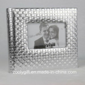 "5X7 "" Sliver Knit Texture Leather Photo Album with Window pictures & photos"