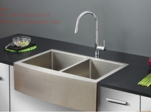 Stainless Steel Apron Front Equal Double Bowl Handmade Kitchen Sink with Cupc Certification pictures & photos
