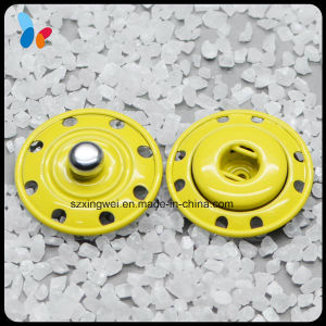 Painted Yellow Color Eight Holes Metal Stud Snap Sewing Button pictures & photos