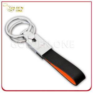 Custom Engraving Double Ring PU Leather Key Chain pictures & photos