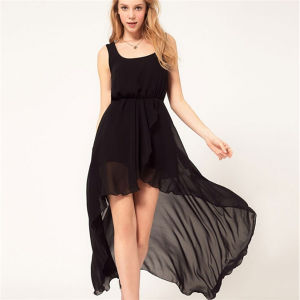 Sexy Irregular Beach Hem Sundress Maxi Chiffon Girl Dress pictures & photos